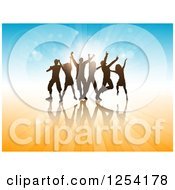 Clipart Of A Team Of Silhouetted Dancers Over Blue And Orange Royalty Free Vector Illustration
