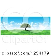 Clipart Of A 3d Lone Tree On A Hill Against A Blue Sky With Clouds Royalty Free Illustration