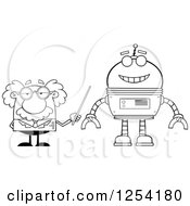 Clipart Of A Black And White Senior Male Scientist Discussing A Robot Royalty Free Vector Illustration