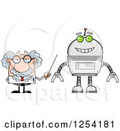 Clipart Of A Senior Male Scientist Discussing A Robot Royalty Free Vector Illustration