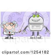 Clipart Of A Senior Male Scientist Discussing A Robot Over Gears On Purple Royalty Free Vector Illustration
