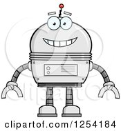 Clipart Of A Happy Metal Robot Royalty Free Vector Illustration