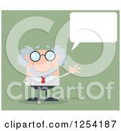 Clipart Of A Senior Scientist Waving And Talking Over Green Royalty Free Vector Illustration by Hit Toon