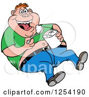 Clipart Of An Obese White Man Laughing And Eating Food From A Bucket Royalty Free Vector Illustration