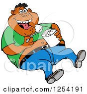 Clipart Of An Obese Black Man Laughing And Eating Food From A Bucket Royalty Free Vector Illustration