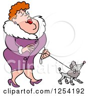 Clipart Of A Sophisticated White Woman Walking A Poodle Royalty Free Vector Illustration