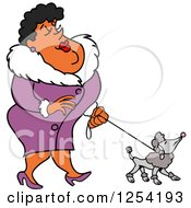 Sophisticated Black Woman Walking A Poodle