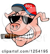 Clipart Of A Grinning Pig Smoking A Cigar Wearing Sunglasses And A Bbq Hat Royalty Free Vector Illustration