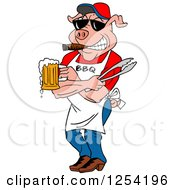 Clipart Of A Bbq Pig Chef Holding Tongs Wearing Sunglasses Smoking A Cigar And Holding A Beer Royalty Free Vector Illustration