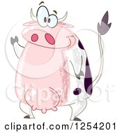 Clipart Of A Friendly Cow Waving Royalty Free Vector Illustration by yayayoyo