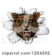 Clipart Of A Ferocious Wolf Breaking Through A Wall Royalty Free Vector Illustration by AtStockIllustration