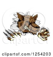 Clipart Of A Ferocious Wolf Scratching And Breaking Through A Wall Royalty Free Vector Illustration