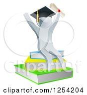 Clipart Of A 3d Silver Person Graduate Cheering With A Diploma And Sitting On A Stack Of Books Royalty Free Vector Illustration