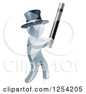 3d Silver Man Magician Using A Baton Wand