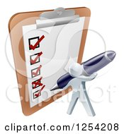 Clipart Of A 3d Silver Man Checking Off A List With A Pen On A Giant Clipboard Royalty Free Vector Illustration