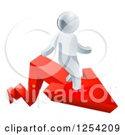 Clipart Of A 3d Successful Silver Man Standing On A Red Arrow Royalty Free Vector Illustration