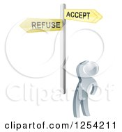 Clipart Of A 3d Silver Man Looking Up At Refuse And Accept Signs Royalty Free Vector Illustration