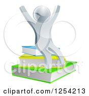 Clipart Of A 3d Cheering Silver Man Sitting On Books Royalty Free Vector Illustration by AtStockIllustration