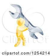 Clipart Of A 3d Gold Man Carrying A Giant Wrench Royalty Free Vector Illustration