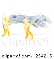 3d Gold Men Carrying A Giant Spanner Wrench