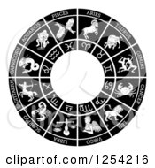 Clipart Of A Black And White Horoscope Astrology Star Sign Circle Royalty Free Vector Illustration by AtStockIllustration