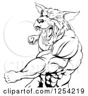 Clipart Of A Black And White Punching Muscular Wolf Man Mascot Royalty Free Vector Illustration by Geo Images