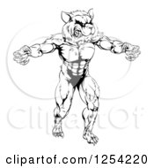 Clipart Of A Black And White Muscular Raccoon Mascot Standing Upright Royalty Free Vector Illustration by Geo Images