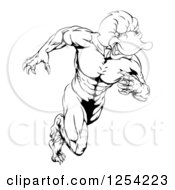 Clipart Of A Black And White Aggressive Muscular Duck Mascot Running Royalty Free Vector Illustration by Geo Images