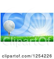 Clipart Of A 3d Golf Ball On A Tee Over A Sunrise Royalty Free Vector Illustration by AtStockIllustration