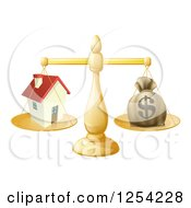 Clipart Of A 3d Scale Comparing A Dollar Money Bag And A House Royalty Free Vector Illustration