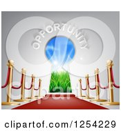Clipart Of OPPORTUNITY Over Open Doors With Sunshine And A Red Carpet Royalty Free Vector Illustration by AtStockIllustration