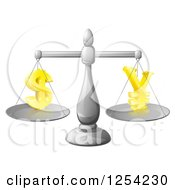Clipart Of A 3d Silver Scale Comparing Dollar And Yen Symbols Royalty Free Vector Illustration