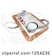 Clipart Of A 3d Stethoscope On A Medical Records Clipboard Royalty Free Vector Illustration