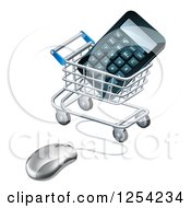 Clipart Of A 3d Computer Mouse Connected To A Shopping Cart With A Calculator Royalty Free Vector Illustration