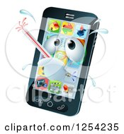 Clipart Of A 3d Smart Phone Sick With A Malware Fever Royalty Free Vector Illustration by AtStockIllustration