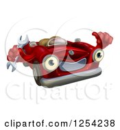 Clipart Of A Happy Red Car Character Mechanic Holding A Wrench And Thumb Up Royalty Free Vector Illustration
