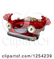 Clipart Of A Happy Red Car Character Holding Thumbs Up Royalty Free Vector Illustration