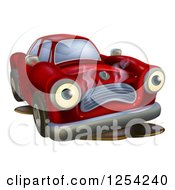 Clipart Of A Sad Broken Down Car Leaking Oil Royalty Free Vector Illustration