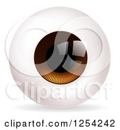 Clipart Of A Brown Eyeball Royalty Free Vector Illustration
