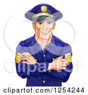 Clipart Of A Handsome Caucasian Male Police Officer With Folded Arms Royalty Free Vector Illustration by AtStockIllustration