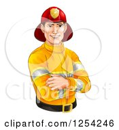 Clipart Of A Handsome Caucasian Male Fireman With Folded Arms Royalty Free Vector Illustration by AtStockIllustration