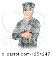 Clipart Of A Handsome Caucasian Male Soldier With Folded Arms Royalty Free Vector Illustration by AtStockIllustration