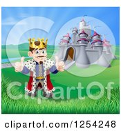 Clipart Of A Happy King Holding Two Thumbs Up In Front Of His Castle Royalty Free Vector Illustration
