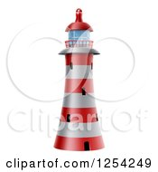 Clipart Of A Red And White Striped Lighthouse Royalty Free Vector Illustration by AtStockIllustration