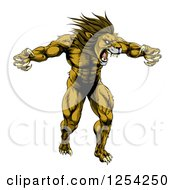 Clipart Of A Muscular Angry Lion Roaring With Claws Bared Royalty Free Vector Illustration