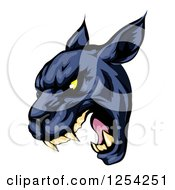 Clipart Of A Roaring Black Panther Mascot Head Royalty Free Vector Illustration by Geo Images