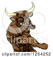 Clipart Of A Punching Muscular Bull Man Mascot Royalty Free Vector Illustration by Geo Images