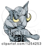 Clipart Of A Punching Muscular Elephant Man Mascot Royalty Free Vector Illustration by AtStockIllustration