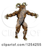 Clipart Of A Muscular Angry Ram With Claws Bared Royalty Free Vector Illustration by AtStockIllustration