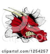 Clipart Of A Snarling Fierce Red Dragon Mascot Head Breaking Through A Wall Royalty Free Vector Illustration